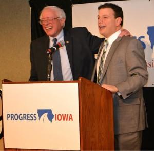 Senator Bernie Sanders spoke at Progress Iowa's event in December. Photo courtesy of Progress Iowa