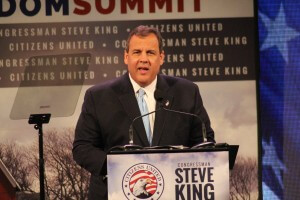 New Jersey Governor Chris Christie spoke near the end of the 10-hour event.