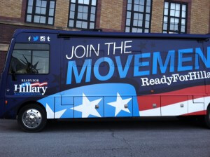 The Ready for Hillary bus made several stops in Iowa. Photo courtesy of Rick Smith