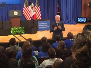 Biden roams the crowd as he answers students' questions