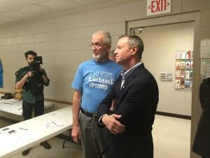 Cedar Co Chair Larry Hodgden greets O'Malley