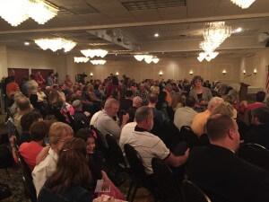 The crowd in Cedar Rapids