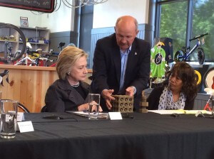 Sen. Bill Dotzler with Clinton in Cedar Falls