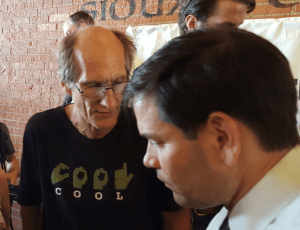 Marco Rubio talks to a supporter of the fair tax