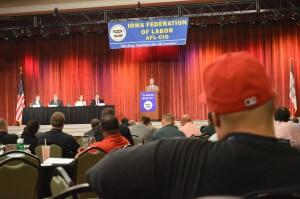 Union members listen to Webb's speech
