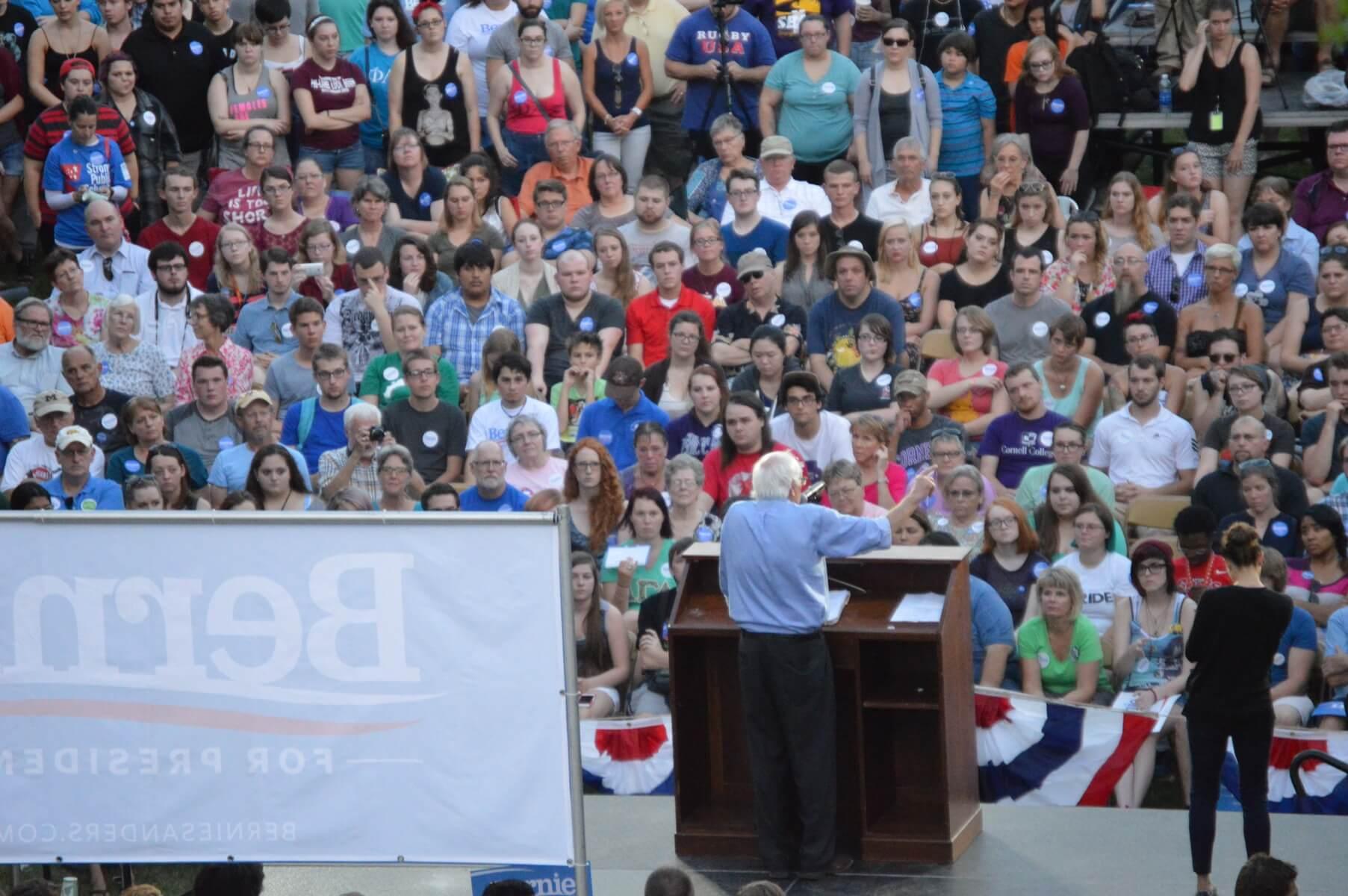Sanders at Coe College in September