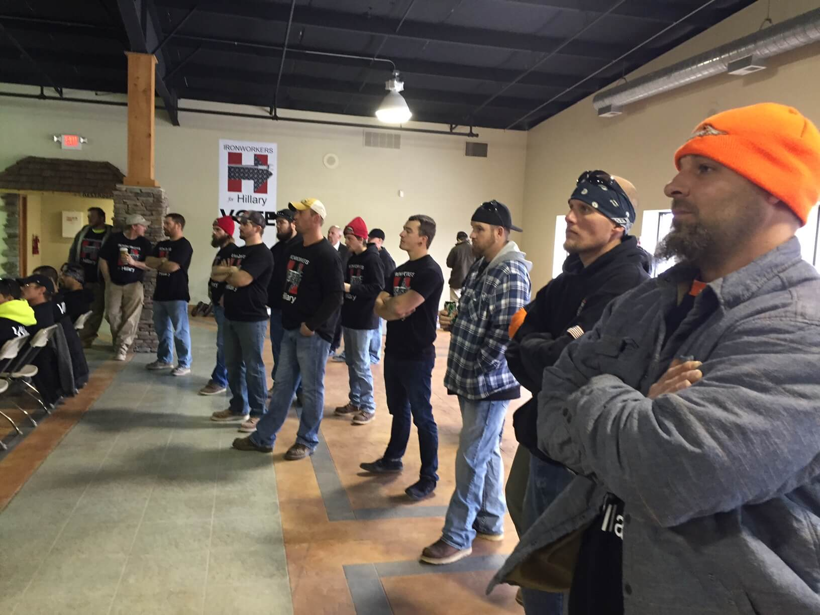 Ironworkers listen to their international president