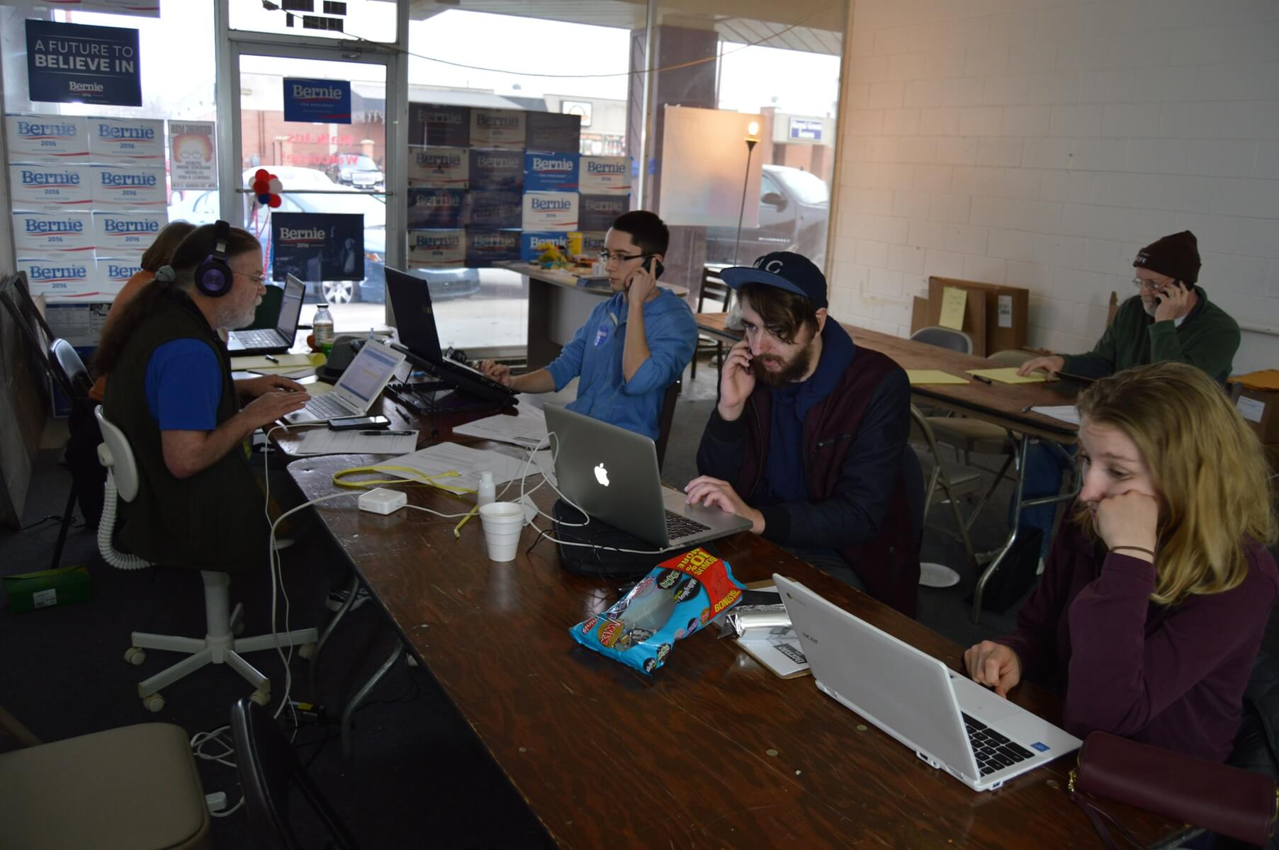 Bernie Sanders volunteers making calls in Lawrence
