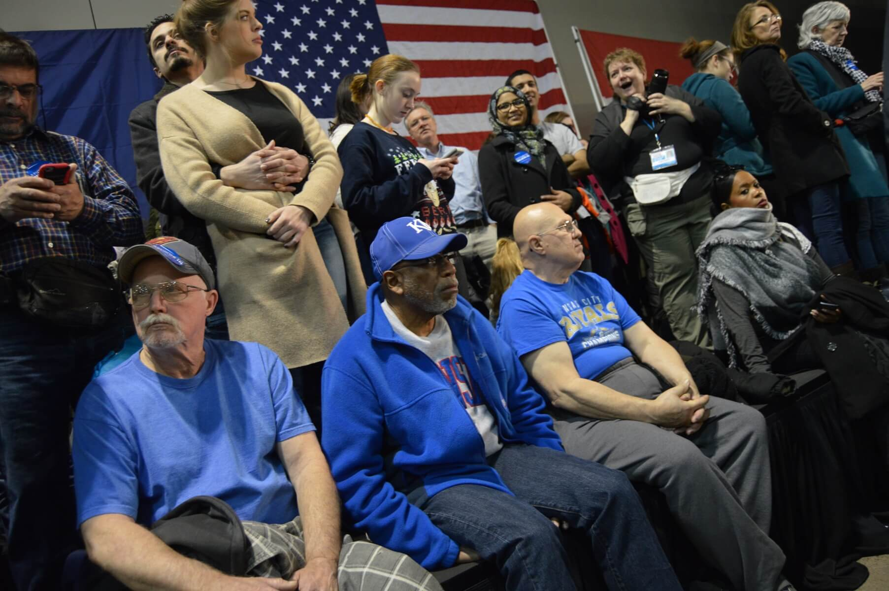 Sanders supporters await his appearance at a rally in Kansas City