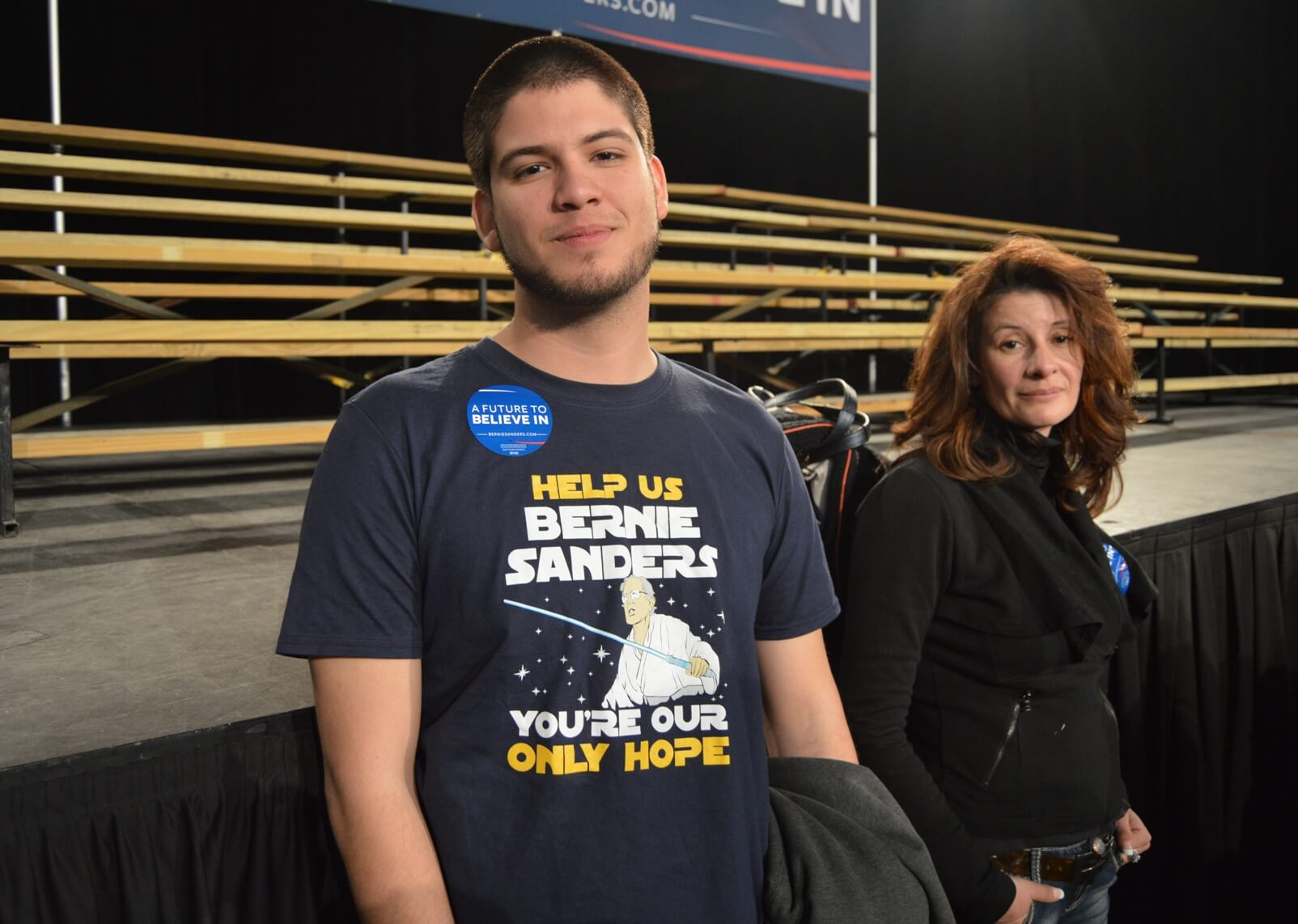 Sanders supporters at the rally in Kansas City