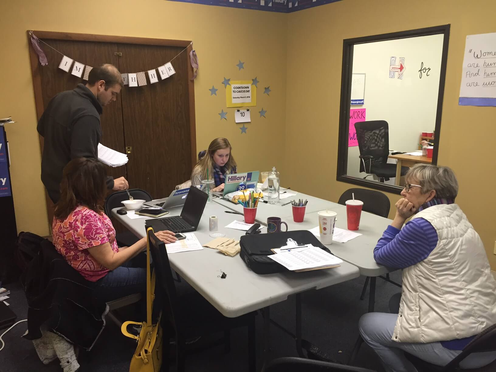Clinton staffers and volunteers in the Overland Park office