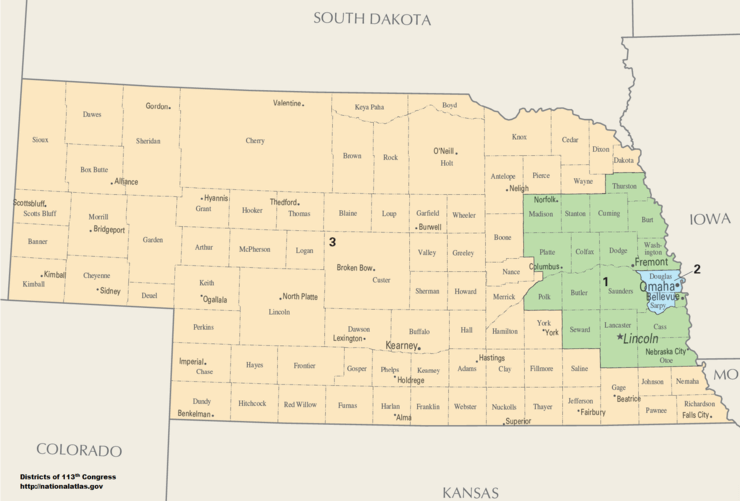 Nebraska's Congressional District map