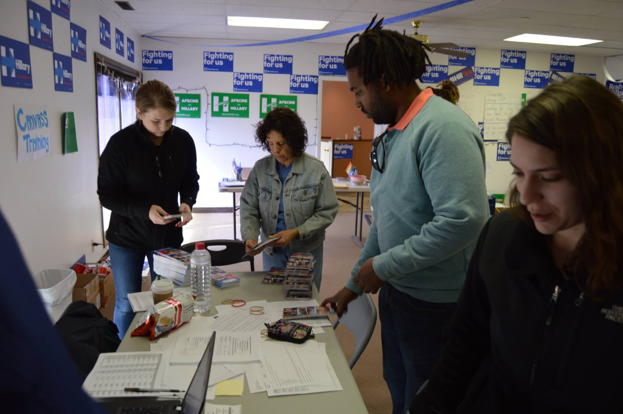 Clinton staff and volunteers prepare to canvass