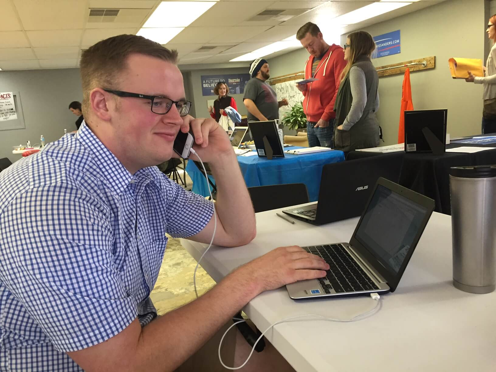 A first-time phone caller in Sanders' Omaha office