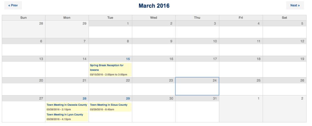 Grassley March event schedule