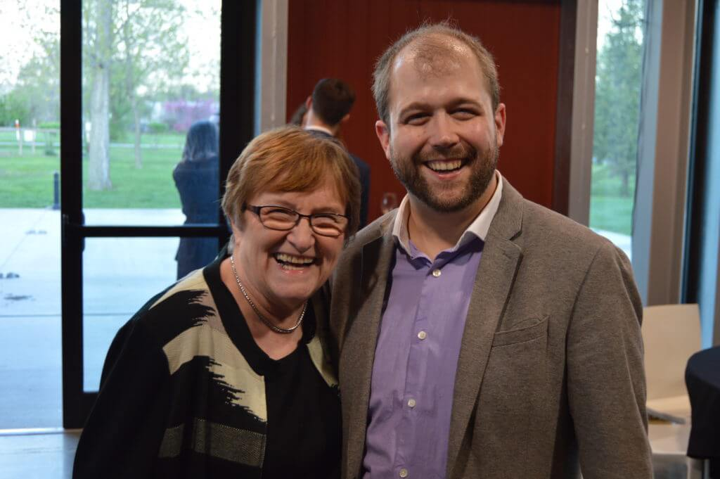 Patty Judge with Nate Monson, ED of Iowa Safe Schools, at the reception