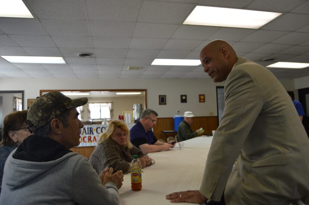 Adams talks with Adair activists
