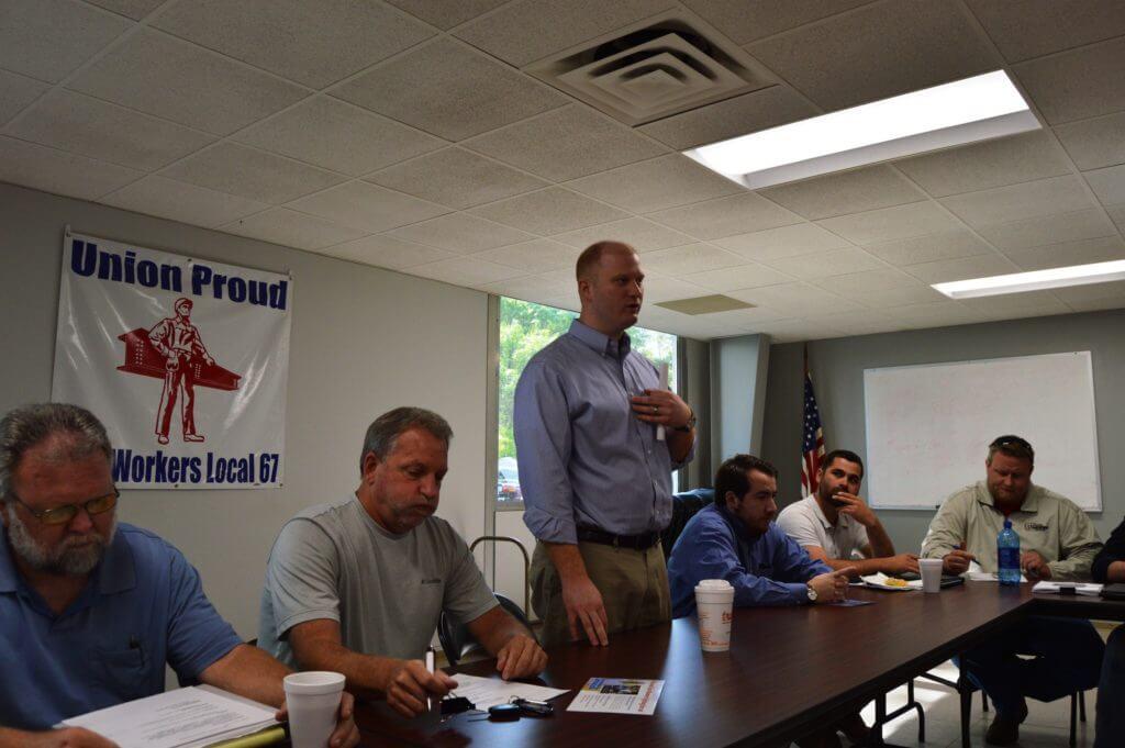 Mowrer speaks to union members