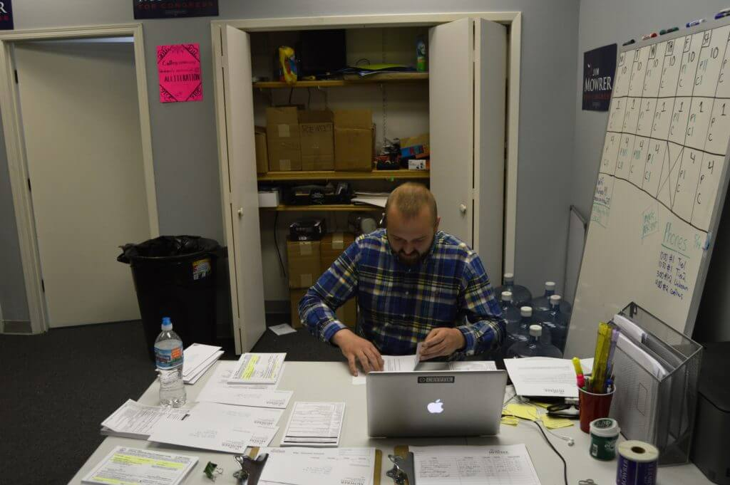 Campaign workers send out absentee requests at Mowrer HQ