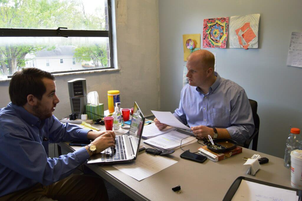 Mowrer and Mulvey in the call room