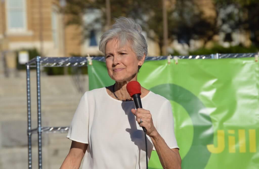 Stein addresses the crowd