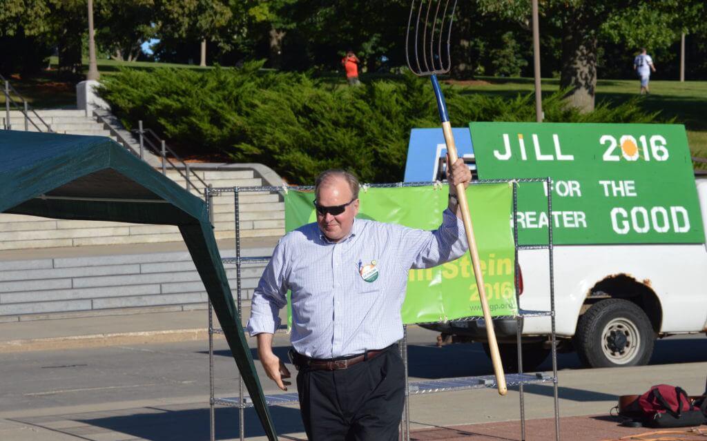 Tom Fiegen, former Democratic Senate candidate, brought a pitchfork