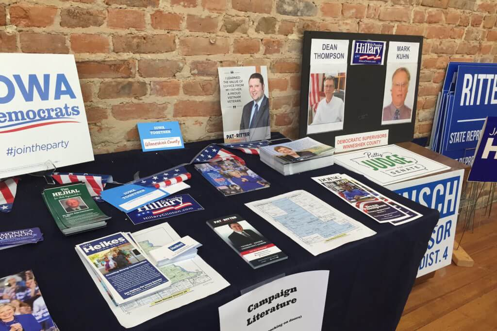 The busy Decorah campaign office