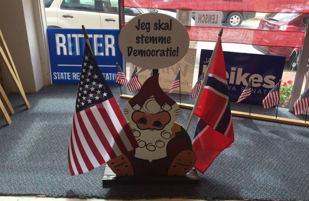 Some Norwegian flair in the Decorah campaign office
