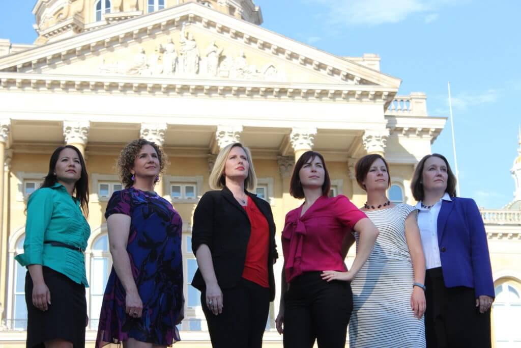 Morris with the other five Democratic women running for the legislature in Polk County