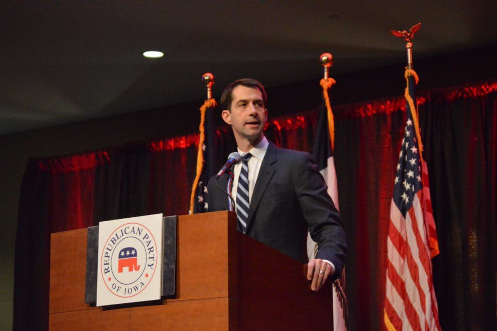 Tom Cotton in Des Moines