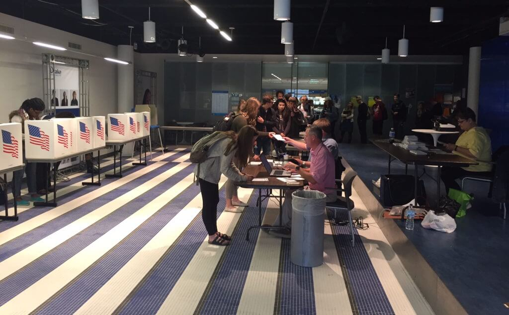 Drake students line up to vote on campus