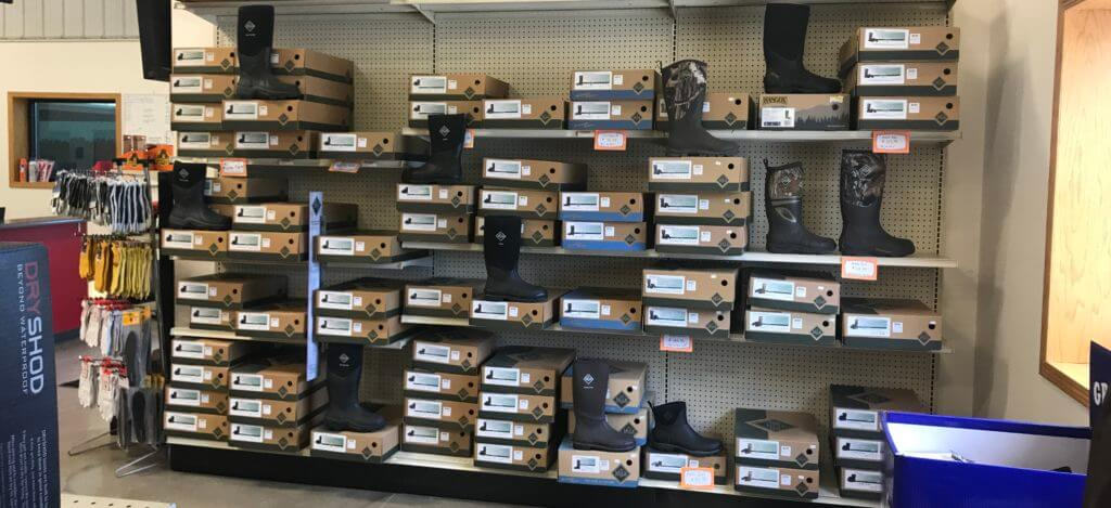 Boot selection at United Farmer's Cooperative in Mt. Ayr