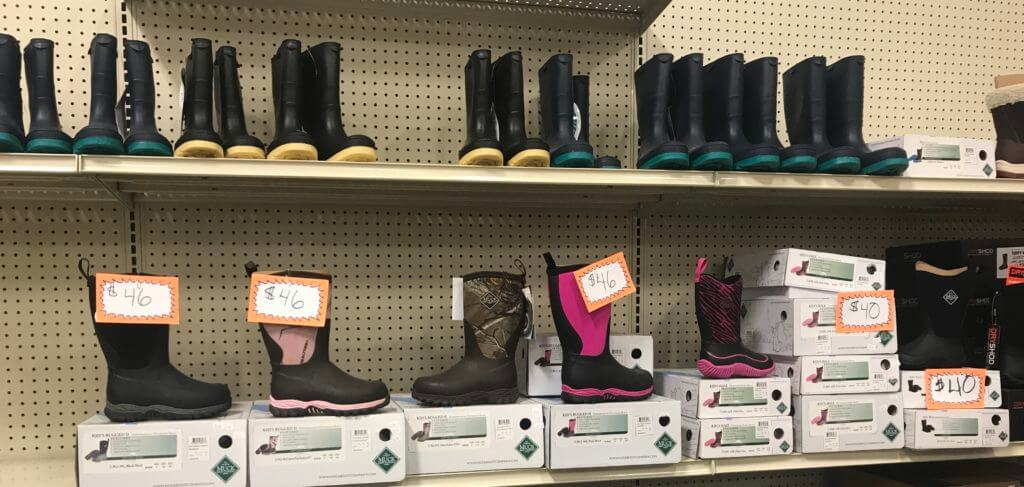 Selection of women's boots available at Mt. Ayr's United Farmer's Cooperative