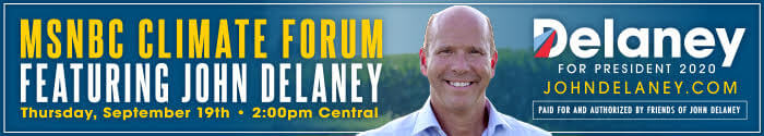 WATCH: John Delaney on MSNBC's Climate Forum on September 19th